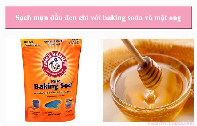 mật ong và baking soda trị mụn đầu đen