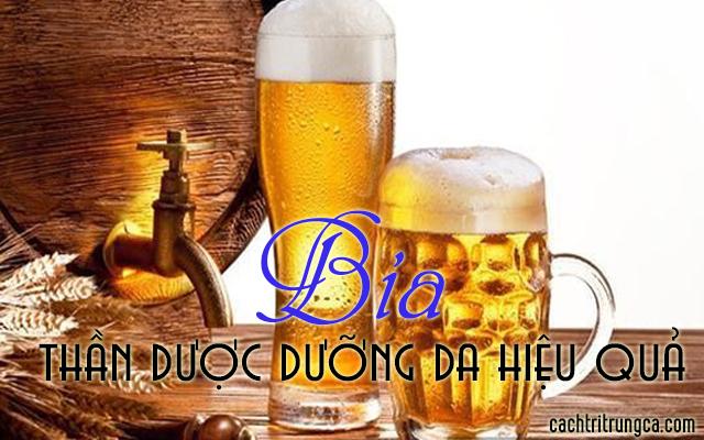 dưỡng trắng da với bia