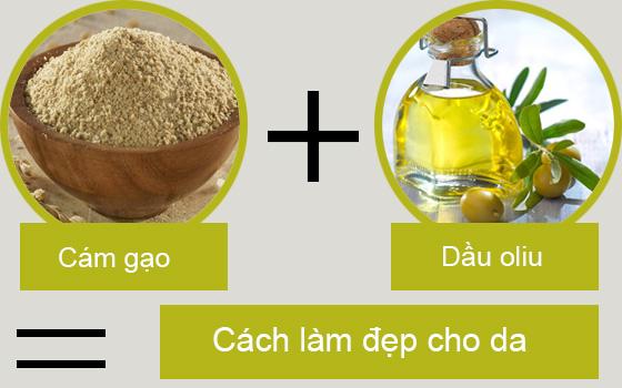 Kết hợp cám gạo và dầu oliu chăm sóc cho da